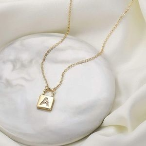 NEW PADLOCK INITIAL HEART PENDANT CHOKER NECKLACE